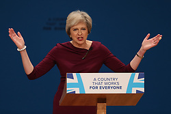 October 5, 2016 - Birmingham, United Kingdom - Image licensed to i-Images Picture Agency. 05/10/2016. Birmingham, United Kingdom. Prime Minister Theresa May  delivers  keynote speech on the final day of the Conservative Party Conference  in Birmingham, United Kingdom.  Picture by Stephen Lock / i-Images (Credit Image: © Stephen Lock/i-Images via ZUMA Wire)