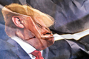crumpled newspaper with US president Donald Trump blabbering