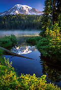 Mount Rainier reflecting in Reflection Lakes in Mount Rainier National Park