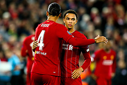 Trent Alexander-Arnold of Liverpool and Virgil van Dijk of Liverpool - Mandatory by-line: Robbie Stephenson/JMP - 02/10/2019 - FOOTBALL - Anfield - Liverpool, England - Liverpool v Red Bull Salzburg - UEFA Champions League Group Stage