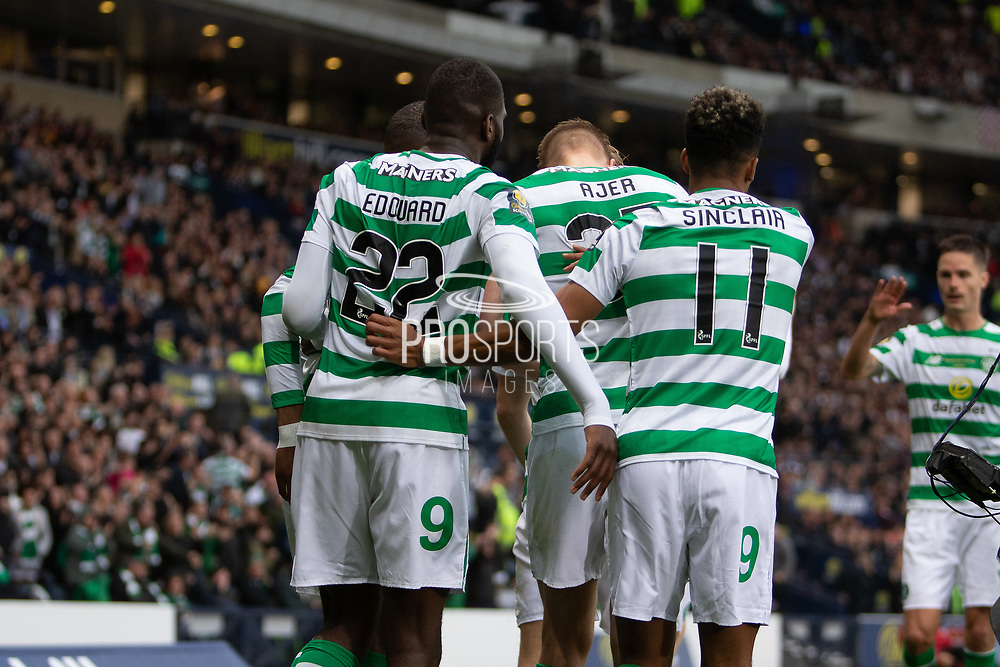 Odsonne Edouard celebrates with team mates Scott Sinclair & Kristoffer Ajer during the William Hill Scottish Cup Final match between Heart of Midlothian and Celtic at Hampden Park, Glasgow, United Kingdom on 25 May 2019.
