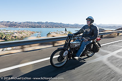 Steve Gonzales of California on his 1915 Harley-Davidson rides by Lake Havasu during the Motorcycle Cannonball Race of the Century. Stage-14 ride from Lake Havasu CIty, AZ to Palm Desert, CA. USA. Saturday September 24, 2016. Photography ©2016 Michael Lichter.