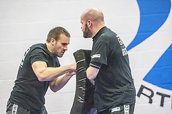 Students practising their punches on the pads. Stef Noij, KMG Instructor from the Institute Krav Maga Netherlands, takes the IKMS G Level Programme seminar today at the Scottish Martial Arts Centre, Alloa.