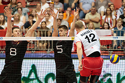 09.06.2017, TipsArena, Linz, AUT, FIVB, World League, Österreich vs Deutschland, Division III, Gruppe C, Herren, im Bild v.l.: Marcus Boehme (GER), Moritz Reichert (GER), Alexander Berger (AUT) // v.l.: Marcus Boehme (GER), Moritz Reichert (GER), Alexander Berger (AUT) during the men's FIVB, Volleyball World League, Division III, Group C match between Austria and Germany at the TipsArena in Linz, Austria on 2017/06/09. EXPA Pictures © 2017, PhotoCredit: EXPA/ JFK