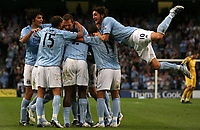 Photo: Paul Thomas.<br /> Manchester City v Derby County. The FA Barclays Premiership. 15/08/2007.<br /> <br /> Rolando Bianchi (10) and his City team-mates celebrate Michael Johnson's goal.
