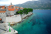 Elevated view of Eastern side of Korcula old town and surrounding water. Korcula old town, Croatia