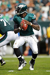 Philadelphia Eagles quarterback Michael Vick #7 in the pocket during the NFL game between the New York Giants and the Philadelphia Eagles. The Giants won 29-16 at Lincoln Financial Field in Philadelphia, Pennsylvania on Sunday, September 25th 2011. (Photo By Brian Garfinkel)