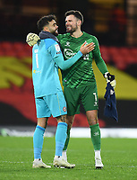 Football - 2020 / 2021 Sky Bet Championship - Watford vs Brentford - Vicarage Road<br /> <br /> Ben Foster of Watford with David Raya Martin of Brentford at the final whistle.<br /> <br /> COLORSPORT/ASHLEY WESTERN