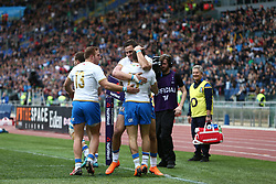 March 17, 2018 - Rome, RM, Italy - Italy players celebrate the second point during the Six Nations 2018 match between Italy and Scotland at Olympic Stadium on March 17, 2018 in Rome, Italy. (Credit Image: © Danilo Di Giovanni/NurPhoto via ZUMA Press)