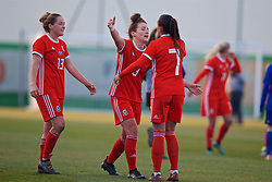 ZENICA, BOSNIA AND HERZEGOVINA - Tuesday, November 28, 2017: Wales' Rachel Rowe, Angharad James and Natasha Harding celebrate after the 1-0 victory over Bosnia and Herzegovina during the FIFA Women's World Cup 2019 Qualifying Round Group 1 match between Bosnia and Herzegovina and Wales at the FF BH Football Training Centre. (Pic by David Rawcliffe/Propaganda)