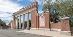 Walter Camp Monument & Gate to Yale Athletic Fields. Derby Avenue, New Haven, CT.