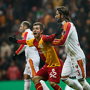 Galatasaray's Emre Colak (L) during their Turkish Super League soccer match Galatasaray between Kayserispor at the TT Arena at Seyrantepe in Istanbul Turkey on Saturday, 11 February 2012. Photo by TURKPIX