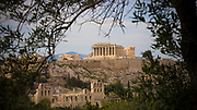 The Parthenon on the Acropolis (Greek for highest point) of Athens, Greece as viewed from the Palatine hills