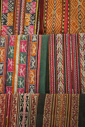 Traditional weavings on display, Cuzco, Peru, South America