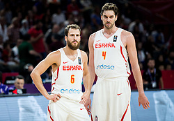 Sergio Rodriguez of Spain and Pau Gasol of Spain during basketball match between National Teams of Spain and Turkey at Day 11 in Round of 16 of the FIBA EuroBasket 2017 at Sinan Erdem Dome in Istanbul, Turkey on September 10, 2017. Photo by Vid Ponikvar / Sportida