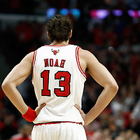 16 April 2011: Chicago Bulls center Joakim Noah (13) rests during the Chicago Bulls 104-99 victory over the Indiana Pacers, during the game 1 of the Eastern Conference first round at the United Center, Chicago, Illinois, USA.