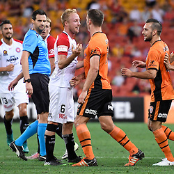 BRISBANE, AUSTRALIA - DECEMBER 22: Luke DeVere of the Roar and Mitch Nichols of the Wanderers confront each other during the round 4 Foxtel National Youth League match between the Brisbane Roar and Melbourne City at AJ Kelly Field on December 22, 2016 in Brisbane, Australia. (Photo by Patrick Kearney/Brisbane Roar)