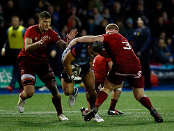 Cardiff Blues' Nick Williams is tackled by Munster's John Ryan<br /> <br /> Photographer Simon King/Replay Images<br /> <br /> Guinness PRO14 Round 15 - Cardiff Blues v Munster - Saturday 17th February 2018 - Cardiff Arms Park - Cardiff<br /> <br /> World Copyright © Replay Images . All rights reserved. info@replayimages.co.uk - http://replayimages.co.uk