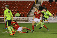 Brighton U18 Jayson Molumby  with a shot during the FA Youth Cup match between U18 Nottingham Forest and U18 Brighton at the City Ground, Nottingham, England on 10 December 2015. Photo by Simon Davies.