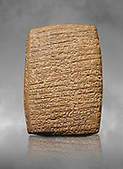 Hittite cuneiform tablet. Adana Archaeology Museum, Turkey. Against a grey art background .<br /> <br /> If you prefer to buy from our ALAMY STOCK LIBRARY page at https://www.alamy.com/portfolio/paul-williams-funkystock/hittite-art-antiquities.html . Type - Adana - in LOWER SEARCH WITHIN GALLERY box. Refine search by adding background colour, place, museum etc<br /> <br /> Visit our HITTITE PHOTO COLLECTIONS for more photos to download or buy as wall art prints https://funkystock.photoshelter.com/gallery-collection/The-Hittites-Art-Artefacts-Antiquities-Historic-Sites-Pictures-Images-of/C0000NUBSMhSc3Oo