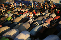 June 15, 2018 - Gaza, Palestinian Territories, Palestine - Palestinians attend Eid al-Fitr prayers in Khan Younis in the southern Gaza Strip. (Credit Image: © Majdi Fathi/NurPhoto via ZUMA Press)