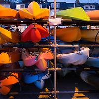 Europe, Great Britain, Wales. Kayaks in Aberdovey, Wales.