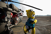 January 27 2016: NFL mascots have some fun during the Pro Bowl Draft at Wheeler Army Base on Oahu, HI. (Photo by Aric Becker/Icon Sportswire)