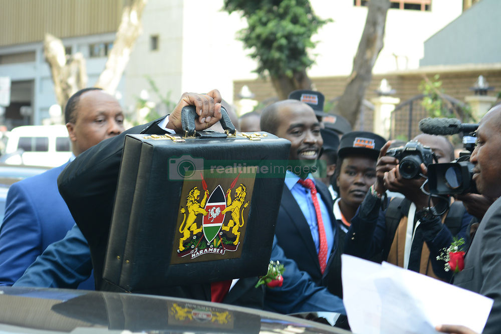June 14, 2018 - Nairobi, Kenya - The budget briefcase is seen as displayed by Treasury Cabinet Secretary Henry Rotich ahead of the reading..The budget for 2018/19 is estimated at Kshs 3.074 trillion with over half of the allocations going to finance government recurrent expenditure. Kenyans are concerned of the increased taxes and cost of basic commodities. (Credit Image: © Allan Muturi/SOPA Images via ZUMA Wire)