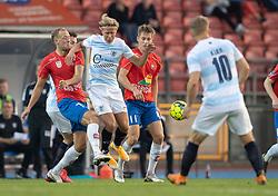 Carl Lange (FC Helsingør) presses af Lasse Brandt Hansen (Hvidovre IF) under kampen i 1. Division mellem Hvidovre IF og FC Helsingør den 15. september 2020 på Pro Ventilation Arena, Hvidovre Stadion (Foto: Claus Birch).