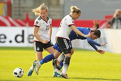 12.04.2016, Osnatel Arena, Osnabrueck, GER, UEFA Euro Qualifikation, Frauen, Deutschland vs Kroatien, im Bild Tabea Kemme (#22, Deutschland) mit Maja Joscak (#7, Kroatien) und Isabell Kerchowski (#17, Deutschland) // during the UEFA Womens Euro Qualification Match between Germany and Croatia at the Osnatel Arena in Osnabrueck, Germany on 2016/04/12. EXPA Pictures © 2016, PhotoCredit: EXPA/ Eibner-Pressefoto/ Deutzmann<br /> <br /> *****ATTENTION - OUT of GER*****