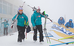 02.03.2011, Pista di Prampero, Tarvis, ITA, FIS Weltcup Ski Alpin, 1. Abfahrtstraining der Damen, im Bild,Michaela Kirchgasser (AUT) und Andrea Fischbacher (AUT) // Michaela Kirchgasser (AUT) and Andrea Fischbacher (AUT)  during Ladie's Downhill Training, FIS World Cup Alpin Ski in Tarvisio Italy on 2/3/2011. EXPA Pictures © 2010, PhotoCredit: EXPA/ J. Groder