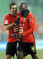 Fotball<br /> Frankrike<br /> Foto: DPPI/Digitalsport<br /> NORWAY ONLY<br /> <br /> FOOTBALL - FRENCH CHAMPIONSHIP 2008/2009 - L1 - STADE RENNAIS FC v GRENOBLE FOOT 38 - 10/01/2009 - JOY FOR CARLOS BOCANEGRA AND MOUSSA SOW AT THE END OF GAME