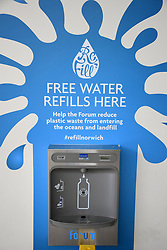Free water refill dispenser, The Forum, Norwich UK