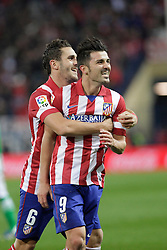 27.10.2013, Estadio Vicente Calderon, Madrid, ESP, Primera Division, Atletico Madrid vs Real Betis, 10. Runde, im Bild Atletico de Madrid's David Villa (R) celebrates, goal with Koke (L) // Atletico de Madrid's David Villa (R) celebrates, goal with Koke (L) during the Spanish Primera Division 10th round match between Club Atletico de Madrid and Real Betis at the Estadio Vicente Calderon in Madrid, Spain on 2013/10/28. EXPA Pictures © 2013, PhotoCredit: EXPA/ Alterphotos/ Victor Blanco<br /> <br /> *****ATTENTION - OUT of ESP, SUI*****