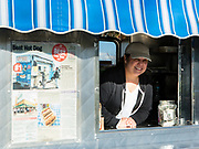 Angela D'Angelo in the Dominick's Hot Dogs van. The hot dogs are a deluxe line by Sabrett, not available at retail.