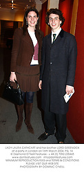 LADY LAURA CATHCART and her brother LORD GREENOCK at a party in London on 16th March 2004.PSL 14