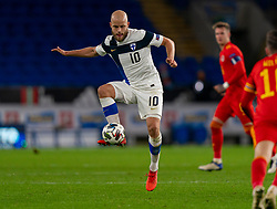 CARDIFF, WALES - Wednesday, November 18, 2020: Finland's Teemu Pukki during the UEFA Nations League Group Stage League B Group 4 match between Wales and Finland at the Cardiff City Stadium. Wales won 3-1 and finished top of Group 4, winning promotion to League A. (Pic by David Rawcliffe/Propaganda)