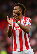 Maxim Choupo of Stoke city applauds the fans after their win. Premier league match, Stoke City v Arsenal at the Bet365 Stadium in Stoke on Trent, Staffs on Saturday 19th August 2017.<br /> pic by Bradley Collyer, Andrew Orchard sports photography.