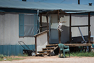Trailer home in Eunice New Mexico, an area in the states oil patch that is experiencing an oil boom due to the fracking industry.