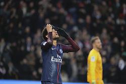 January 27, 2018 - Paris, Ile de France, France - Neymar da Silva Santos Junior - Neymar Jr (PSG) inscrit un but sur penalty, joie, gant droit sur le front, Benjamin LECOMTE (MONTPELLIER HERAULT SC) en arriere plan (Credit Image: © Panoramic via ZUMA Press)