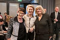"""14 JAN 2019, BERLIN/GERMANY:<br /> Rita Suessmuth (L), CDU, Bundesministerin a.D., Ursula von der Leyen (M), CDU, Bundesverteidigungsministerin, Alice Schwarzer (R), Herausgeberin Emma, Veranstaltung der Konrad-Adenauer-Stiftung, KAS, """"Frauenpolitik - Auftrag fuer morgen!"""", Sheraton Hotel <br /> IMAGE: 20190114-01-070<br /> KEYWORDS: Rita Süssmuth"""
