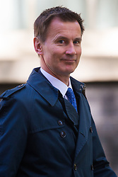 Secretary of State for Health and Social Care Jeremy Hunt leaves the weekly UK cabinet meeting at 10 Downing Street in London, May 01 2018.