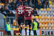 Bradford City midfielder Mark Marshall (7) scores a goal and celebrates with Bradford City defender Anthony McMahon (29) to make the score 1-0 during the EFL Sky Bet League 1 match between Bradford City and Chesterfield at the Northern Commercials Stadium at Valley Parade, Bradford, England on 7 January 2017. Photo by Simon Davies.
