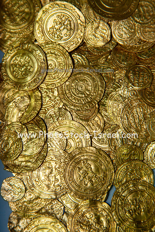 Treasure of gold coins from Caesarea. Photographed at the Israel Antiquities Authority