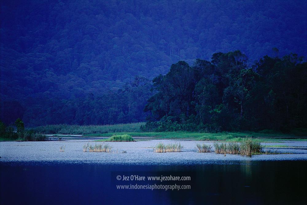 Situ Lembang near Mount Tangkuban Parahu and Mount Burangrang. Kabupaten Bandung Barat, Jawa Barat, Indonesia.
