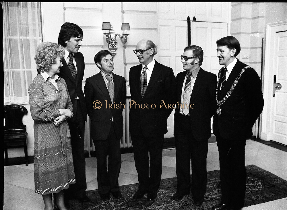 Cork School Of Music..Centennial Concert At Trinity College, Dublin. (M64)..1979..01.04.1979..04.01.1979..1st April 1979..An Taoiseach,Mr Jack Lynch TD,was guest of honour at Cork School of Music,Centennial Concert presented by The Music Association of Ireland. The concert was sponsored by Raybestos Manhattan, McCullogh-Piggot Ltd and Trinity College Dublin.The event took place in the examination hall in the college..Pictured at the concert reception were (L-R), Mrs Mary McCullough,Mr Aidan Mc Cullough, Mr Pat O'Kelly,President,Music Association of Ireland,An Taoiseach, Mr Jack Lynch TD, Mr Pat Hackett, Managing Director,Raybestos Manhattan and Councillor Brian Sloane, Lord Mayor of Cork.