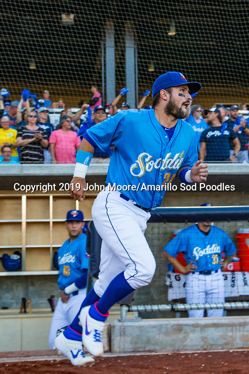 Amarillo Sod Poodles catcher Luis Torrens (21) before the game against the MidlandRockhounds during the Texas League Playoffs on Wednesday, Sept. 4, 2019, at HODGETOWN in Amarillo, Texas. [Photo by John Moore/Amarillo Sod Poodles]