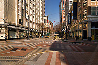 This intersection is the heart of retail shopping in Downtown Seattle. (March 21, 2020).