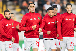 (L-R) Zakaria Labyad of Morocco, Sofyan Amrabat of Morocco, Sofiane Boufal of Morocco, Oualid Azarou of Morocco during the international friendly match between Morocco and Uzbekistan at the Stade Mohammed V on March 27, 2018 in Casablanca, Morocco