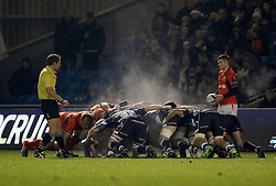 Steam rises from the scrum during the European Champions Cup, pool three mach at the AJ Bell Stadium, Salford.